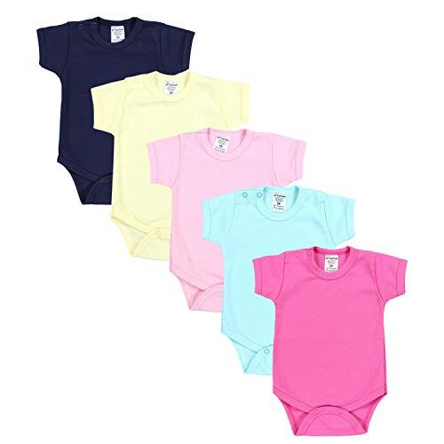 TupTam Mädchen Baby Body Kurzarm in Unifarben - 5er Pack, Farbe: Farbenmix 1, Größe: 80