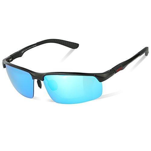 DUCO Herren Heiße Mode Driving Sonnenbrille Polarisierte Brille Sport Eyewear Angeln Golf mit Al-Mg Rahmen 8188 (Schwarz/Blau)