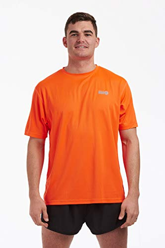 time to run Favourite Lauf-Jogging-Shirt mit kurzen Ärmeln, Oberteil für Herren L Orange