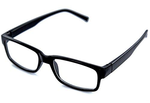 Nerd-Brille schwarz ohne Sehstärke UV-Schutz-400 Slim Fit für Herren und Damen Panto-Brille mit extra schmalem Rahmen klare Gläser Geek-Brille