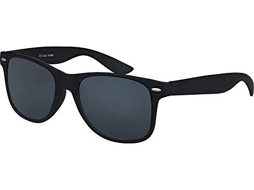 Balinco Hochwertige Nerd Sonnenbrille Rubber im Wayfarer Stil Retro Vintage Unisex Brille mit Federscharnier - 96 verschiedene Farben/Modelle wählbar (Schwarz - Smoke)