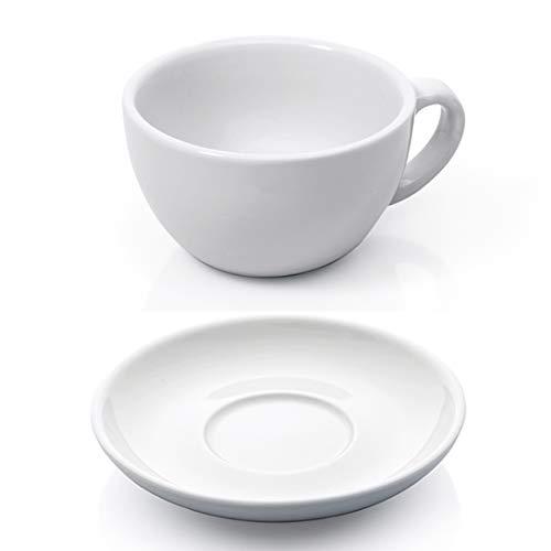 Gastro Spirit Cappuccino Tassen Set 12-TLG. weiß Porzellan Cappuccinotasse Untertasse Kaffeetasse Tasse dickwandig Füllmenge 200 ml