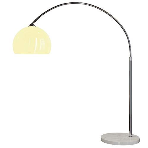 Deuba Design Bogenlampe mit standfestem Marmorfuß höhenverstellbar 146-220cm weiß - Fußschalter - Stehlampe Stehleuchte Bogenleuchte Bogenstandleuchte Standleuchte