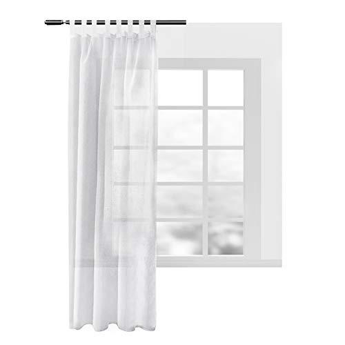 WOLTU® VH5863ws, Gardinen transparent mit Schlaufen Leinen Landhaus Optik, Schlaufenschal Vorhang Stores Voile Fensterschal für Wohnzimmer Kinderzimmer Schlafzimmer, 140x245 cm, Weiß, (1 Stück)