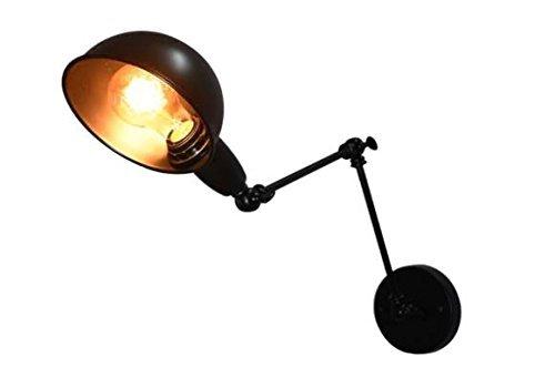 Lightsjoy Industrial Wandlampe Schwenkarm Schwarz LED Wandleuchte Vintage Leuchten E27 Verstellbarer Winkel Lange Arm Nacht Leuchten wandmontage für Wohnzimmer Schlafzimmer Esszimmer Küche Bar usw.