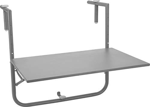 Fair-Shopping Balkontisch 60x40cm Tischplatte klappbar und 3-Fach höhenverstellbar, Hängetisch Gartentisch Klapptisch (Anthrazit)