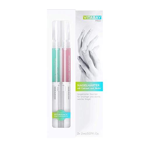 Nagelhärter Duo-Set 2 x 2 ml - mit Calcium und Biotin+ gegen brüchige, dünne, weiche Nägel - für starke, elastische Nägel