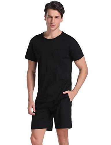 Aibrou Schlafanzug Pyjama Kurz Sommer Baumwolle Nachtwäsche Kurzarm Oberteil Kurze Shorty Hausanzug Sleepwear Schwarz M