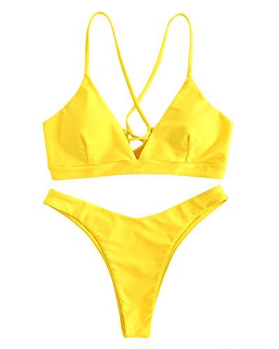 ZAFUL Bikini Set mit Criss Cross Lace-up hinten überqueren Swimsuit Swimwear Bademode Tanga Badeanzug Bikinis-Set Large Gelb
