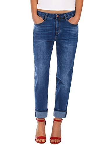 Fraternel Damen Jeans Hose Boyfriend Baggy Stretch Relaxed Blau L / 40 - W31
