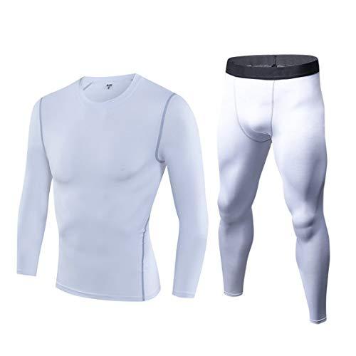 Herren Thermounterwäsche Set Langarm Unterhemd + Thermo Lange Unterhose Winter Suit Ski Funktionswäsche Base Layer Outdoor Radsport Runnin Weiß XXX-Large