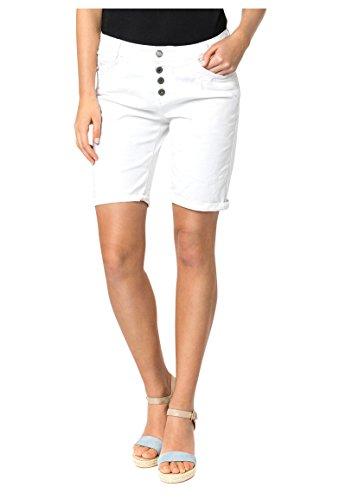 Urban Surface Damen Bermuda Shorts   Bequeme Kurze Stoffhose aus Stretch-Twill - Loose Fit White XS