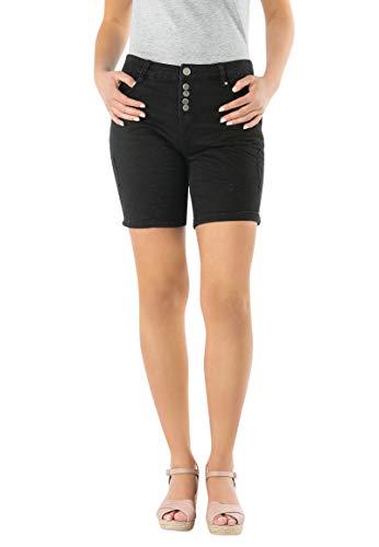 Eight2Nine Damen Stretch-Twill Bermuda Shorts | Kurze Hose mit Aufschlag in Schwarz, Weiß & Rosa Black XS