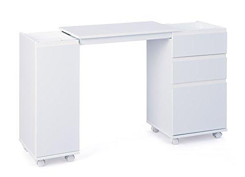 Inter Link Laptoptisch Nähmaschinentisch Computertisch Büromöbel Arbeitstisch Basteltisch Hobbytisch MDF Weiss BxHxT: 66-121 x 72 x 36.5 cm