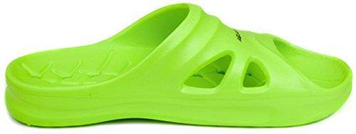 Aqua Speed grüne Badelatschen Florida + Mikrofaserhandtuch | Kinder | Duschsandalen bequem | Badeschlappen grün | Badepantoletten schön | Badeschuhe leicht | Pool Sliders | Slide | Slipper Gr 33