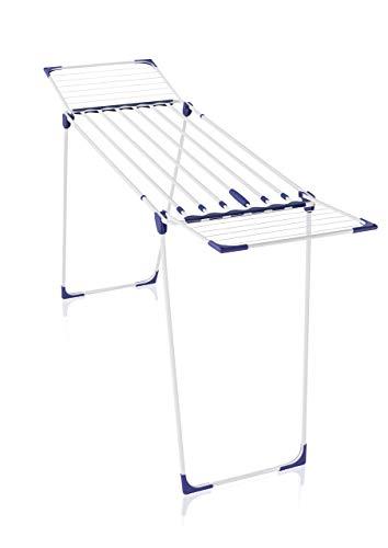 Leifheit Wäscheständer Classic Extendable 230 Solid, auf eine Breite von 184cm ausziehbar, Standtrockner mit 23m Trockenlänge, stabiler Wäschetrockner mit extradicken XL-Stäben, weiß, blau