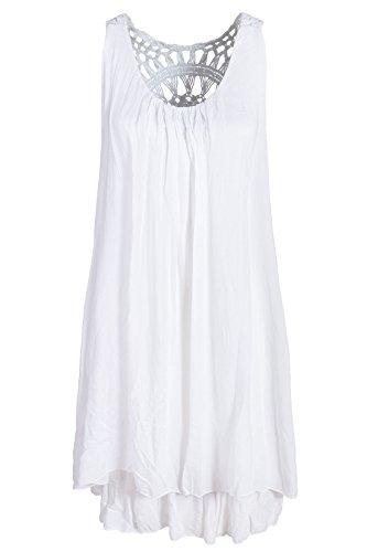 Sommerkleid mit Spitze am Rücken Tunikakleid knielang Weiß 38+40