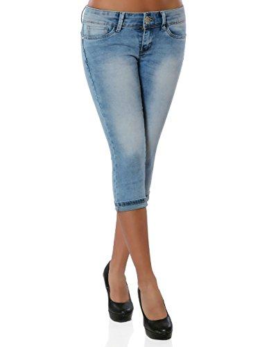 Damen Jeans Kurze Sommer Hose Bermuda Push-Up No 15908 Blau XS / 34