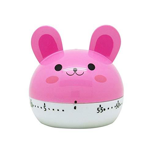 Sguan-wu Cartoon-Kaninchen/Frosch/Kaninchen/Bär Kochen Küchentimer Countdown Mechanischer Alarm - Rosa Kaninchen