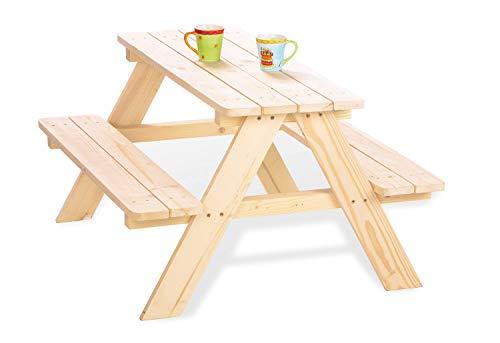 Pinolino Kindersitzgarnitur Nicki für 4, aus massivem Holz, 2 Bänke mit 1 Tisch, empfohlen für Kinder ab 2 Jahren, natur