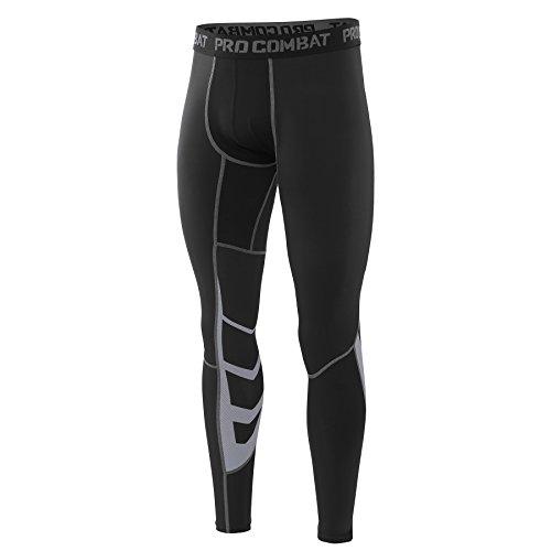 AMZSPORT Herren Fitness Hose Pro Cool Compression Tights Funktionswäsche Pants, Schwarz, L