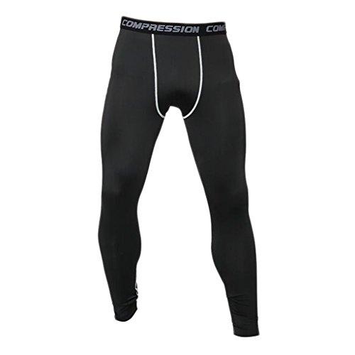 HERREN mens sporthosen fitnesshosen COMPRESSION TRAINING LEGGING Leggings HOSE pants - Grau + Schwarz, M
