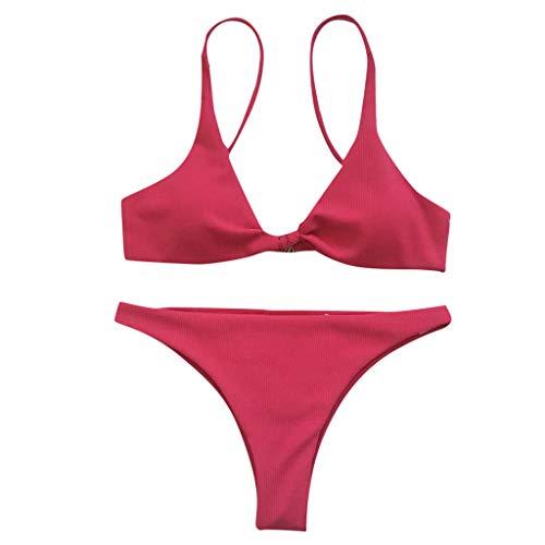 Xuthuly Damen Sexy Zwei Stücke Klassische Solide Knot Bikini Gepolsterte Push-Up BH Verband Draht Kostenloser Split Badeanzug Beachwear Bademode Badeanzug G-String Tanga