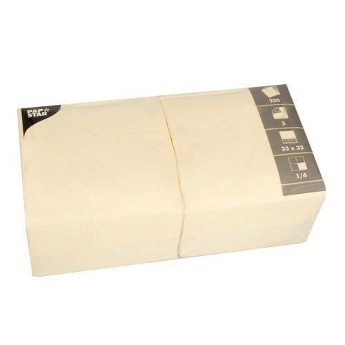 Papstar Servietten / Tissueservietten creme (250 Stück) 33 x 33 cm, 3-lagig, 1/4-Falz,  für Gastronomie, Feste oder Haushalt, #12478