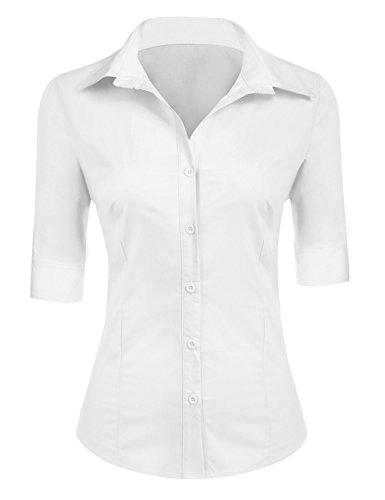 BeautyUU Damen Hemd Bluse Basic Hemd 3/4 Ärmel Hemdbluse Damenbluse Arbeitshemd Freizeithemd Business Hemd Weiß L