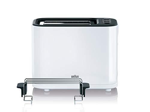 Braun HT 3010 WH Toaster | Doppelschlitz | Herausnehmbare Krümelschublade | Aufwärm- und  Auftaufunktion | 7 Röstgrade | Separater Brötchenaufsatz | Weiß