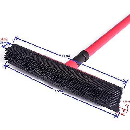 XDEJING Mop multifunktionale Teleskopbesen Magic Rubber Besom Reiniger Pet Haarentfernung Pinsel Hause Bodenstaub WischMop & TeppichkehrerRot