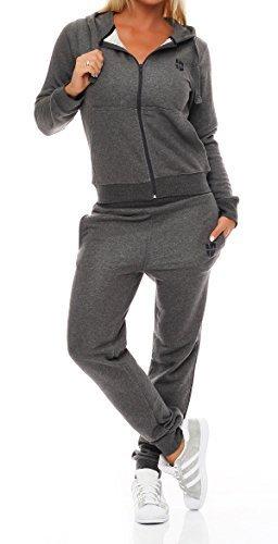 Gennadi Hoppe Damen Jogginganzug Trainingsanzug Sportanzug, grau,XL
