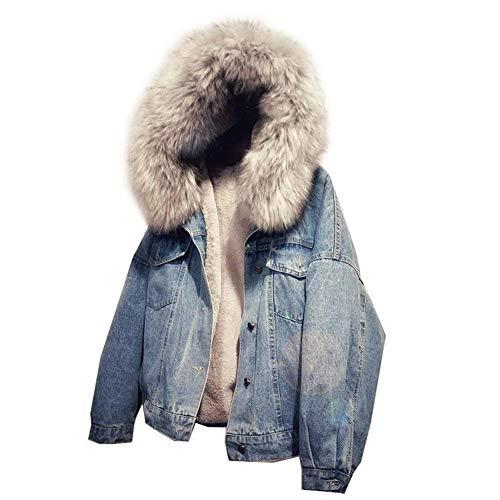 ishine Gefütterte Jeansjacke Damen mit Fellkapuze Denim Jacket Kapuzenjacke Herbstjacke Damen Mantel Winterjacke Outwear