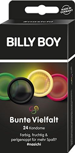 Billy Boy Kondome Mix-Sortiment aus farbigen, extra fruchtigen und perlgenoppten Kondomen, 24-Stück