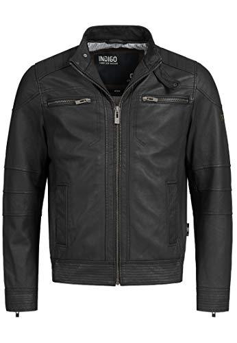 Indicode Herren Germo Lederjacke 100% Lammleder Bikerjacke Jacke Echtlederjacke Black M