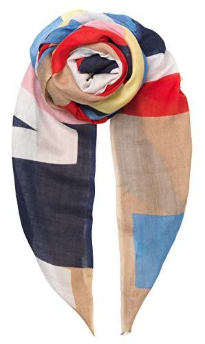 Becksöndergaard Damen Schal Rita in Bunten Farben Gestreift - Langes Tuch mit Rainbow Schriftzug in Rot Blau Gelb Weiß 200 x 100 cm -1901620024-690