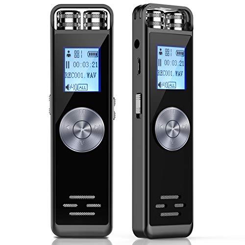 Digitales Diktiergerät,TENSAFEE 8GB Activated Sound Audio Recorder Diktiergerät,Tragbarer digitaler HD Recorder mit Doppelmikrofon Unterstützungs TF Karte 32G erweitern für Vorträge/Meetings/Interview