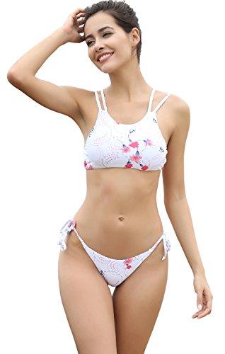 SHEKINI Damen Blumendruck Neckholder Gepolsterte Bikini Set Sport Bademode Badeanzug Schwimmanzug Strandkleidung (Small, Weiß)
