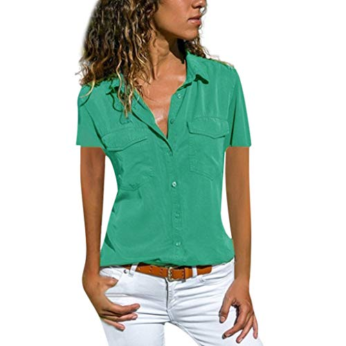 Ausverkauf LEEDY Damen Basic Blusen Taillierte Kurzarm Damenbluse Elegante Stretch Hemden V-Ausschnitt Shirt Hemd Casual Bluse Einfarbig Oberteil Hemdbluse Shirtbluse, Grün, L