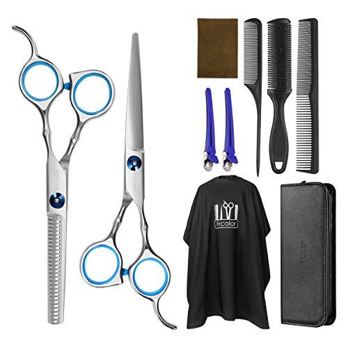 Frcolor Haarschere Set friseur schere ausdünnen Haarschnitt Modellierschere mit friseurumhang, Kämme Clips, schwarzer case, verbessertes Haarschnitt-Set