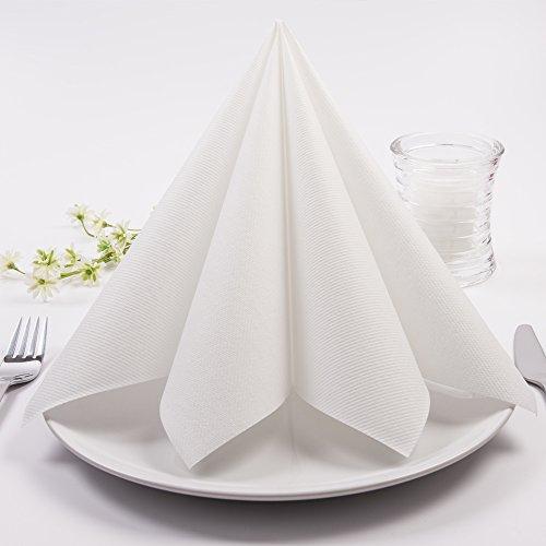 Sovie HORECA Airlaid-Servietten 40x40 cm   hochwertige Einweg-Servietten   extrem saugstark und stoffähnlich   ideal für Hochzeit & Partys   50 Stück   Weiß