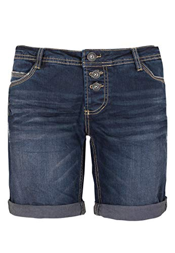 Sublevel Damen Bermuda mit Aufschlag | 5 Pocket Jeans-Shorts | Lockere Kurze Hose aus hochwertigen Denim Blue XS