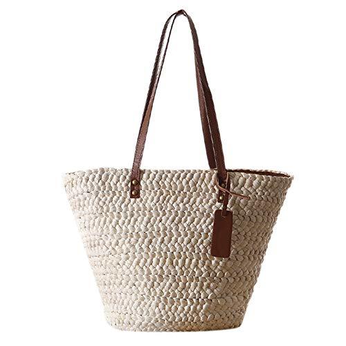 Stroh Strandtasche, Sommer Umhängetasche Korbtasche mit Reißverschluss und Mehreren Fächern, Große Kapazität für Einkauf Den Täglichen Gebrauch Büro Urlaub