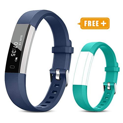 TOOBUR Fitness Armband für Kinder Damen Herren, Schrittzähler Uhr Fitness Tracker mit Kalorienzähler, Wasserdicht Aktivitätstracker Armbanduhr mit Schlafmonitor und Vibration Wecker (Blau Grün)
