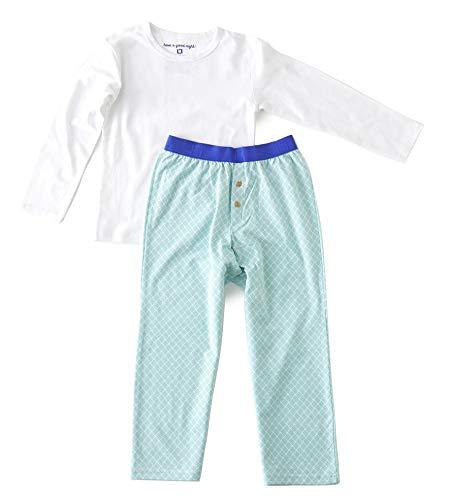 little label - Jungen Schlafanzug - Green Blue Hatch - Jersey-95% Baumwolle, 5% Elasthan - GOTS Zertifiziert