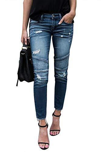 Yidarton Jeans Damen Jeanshosen Röhrenjeans Skinny Slim Fit Stretch Stylische Boyfriend Jeans Zerrissene Destroyed Jeans Hose mit Löchern Lässig (Hellblau, Large)
