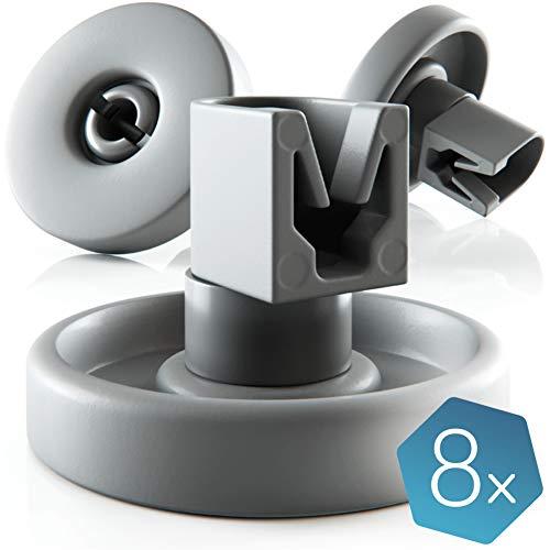 Spülmaschinen-Rollen [8er Set] von Plemont® - Universelle Korbrollen für viele gängige Geschirrspüler & Spülmaschine - Unterkorbrollen Ersatzteile und Zubehör - 2 Jahre Geld zurück!