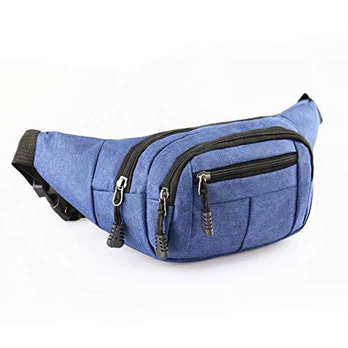 DQMEN Wasserdichte Bauchtasche Multifunktionale Hüfttasche 4 Fächer mit Reißverschluss Geeignet für Reise Wanderung und Alle Outdoor für Damen und Herren (Blau)