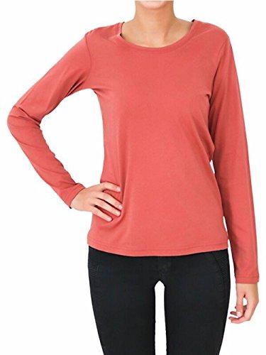 ALBERO 2 er Pack Damen Langarmshirt Bio-Baumwolle GOTS T-Shirt Oberteil Pyjamaoberteil Schlafanzug (L, zedernstaub)