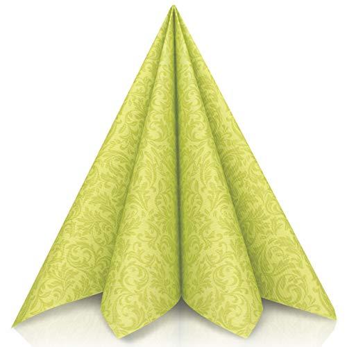 GRUBly Servietten GRÜN   Tissue-Servietten [50 Stück]   Grüne Servietten, Tischdekoration, ideal für Ostern, Geburtstag, Hochzeit & Grillparty   3-lagige Premium Qualität   40x40cm   1/4 Falz